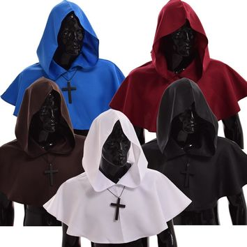 Medieval Hooded Mantle Halloween Wicca Pagan Cosplay Accessory Unisex 5 Colors Vintage Cowl Hat