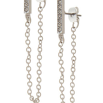 RITZY PAVE BAR WITH DRAPED CHAIN STUD EARRING