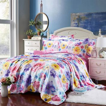 Cool satin silk bedding set bed linens coverlets duvet covers sets twin full queen king size pink purple bright color flower girlsAT_93_12