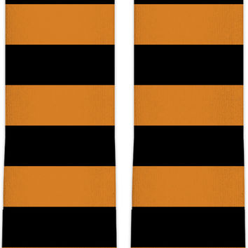 Bee stripes knee high socks, thick stripes themed accessory, orange, black