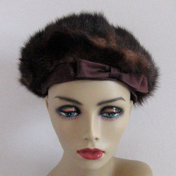 Vintage MINK  HAT with brown satin bow 1960s