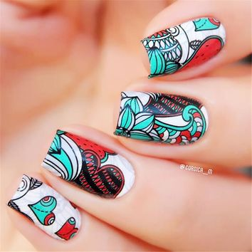 BORN PRETTY Nail Sticker Cute Owl Mixed Flower Feather Star Nail Art Water Decals Transfer Animal Plant Pattern Nail Stickers