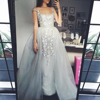 Vestido de festa detachable prom dresses Arabia dress cap sleeves lace appliques sheer tulle grey evening dresses robe de soiree