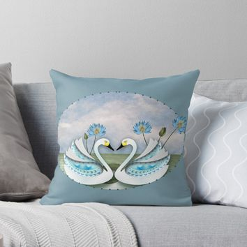 'SWAN LILY 165 (WHITE)' Throw Pillow by sana90