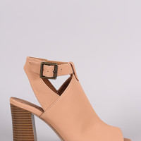 Qupid Nubuck Buckled Peep Toe Chunky Heeled Mule Booties