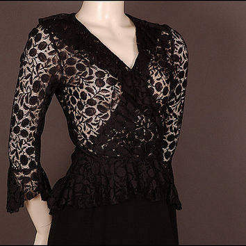 30s 40s swing BLOUSE top LACE black with by SwingingSeamstress