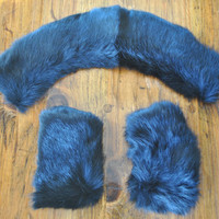 Fur Collar and Cuffs/ black rabbit SET / peter pan