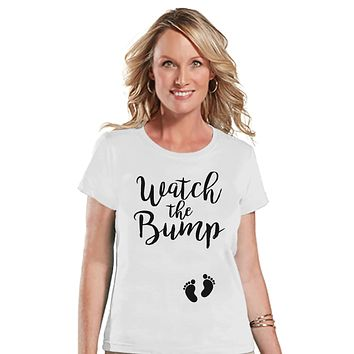 Women's Pregnancy Announcement Shirt - Watch the Bump - White T-shirt - Pregnancy Announcement T-shirt - Funny Pregnancy Reveal Shirt