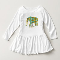Olive Green Blue Pattern Elephant T Shirt