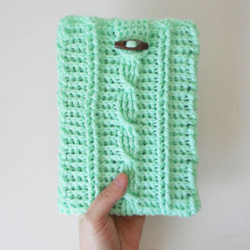 Cable Stitch Mini Tablet or e-Reader Cozy in Mint, ready to ship.