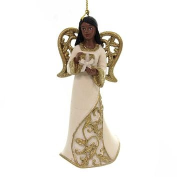 Holiday Ornaments BLACK ANGEL WITH GOLD WINGS African American E0205 Gift