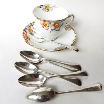 Antique Teaspoons Silver Plated, Sheffield Cutlery, 6 Small Spoons Vintage Flatware, Afternoon Tea, Britannia Metal British Plate