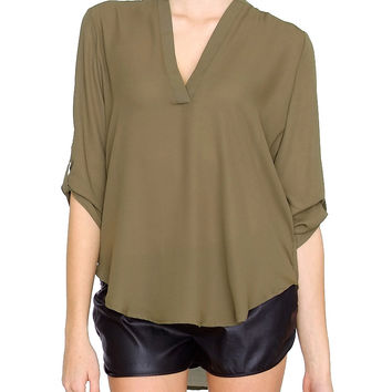 Laid Back Blouse Top - Olive