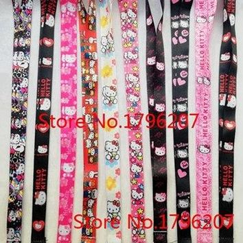 10 PCS Cartoon hello Kitty  Neck Strap Lanyard Mobile Phone Charms Key Chain ID Badge Key Chains P-320