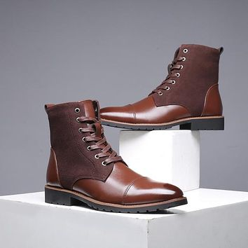 Winter Cowboy Fashion Leather Military Boots