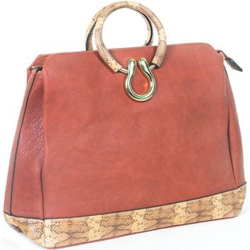 Vegan Leather Western Inspired Snake Print Fashion Handbag Purse