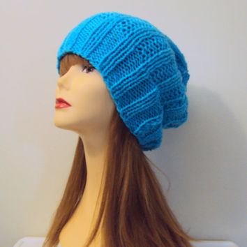 Slouchy Knit Beanie Baggy Hat Turquoise Blue Chunky Celebrity Hat Rasta Dreadlock Hat Women Men Fall Winter Fashion Accessories Hipster Hats