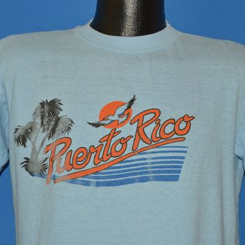 80s Puerto Rico Sunset Seagull Palm Tree t-shirt Large