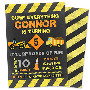 Dump Truck Construction Birthday Invitation - Chalk Construction Birthday Party Invites - Construction Invitations - Boy Birthday Invite