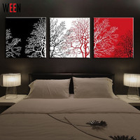 3pcs Oil Paintings Red White Black Tree Hand Painted Modern Decoration Wall Art Oil Painting Abstract Gift Wall Picture No Frame