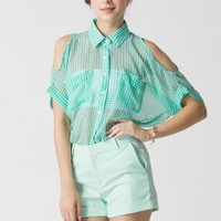 Mint Checked Cut Off Shirt by Chic+ - Retro, Indie and Unique Fashion