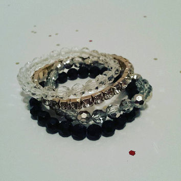 Black, Grey + Crystal Bracelet Stack