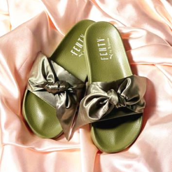 PUMA fenty rihanna silk slides sneakers-spring-Bow Slide Sandals Shoes (10- 0d7719162