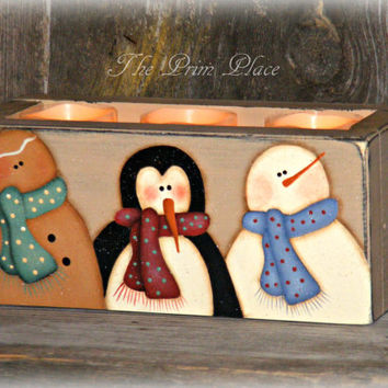 Handcrafted and Hand Painted Wooden Box with Led Candles, Gingerbread, Penquin, and Snowman