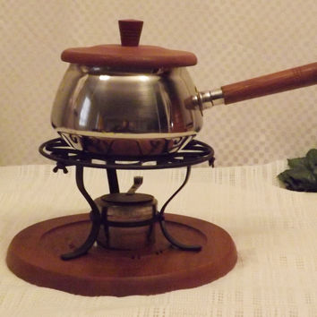 Vintage Swiss Made Stainless Fondue Pot Gail Craft Wood Base Lid