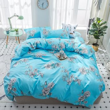 Bedding Set 2018 blue Flower Bed Linens 4/3pcs kids/Adult Bedclothes High quality twin full queen king Duvet Cover Bed Sheet Set