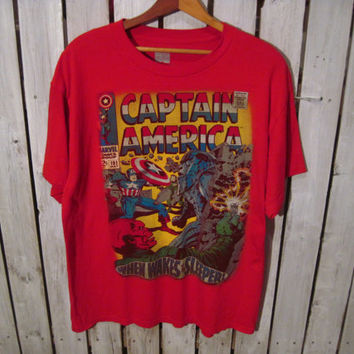 Captain America T-Shirt, Size Large. Marvel Comics. When Wakes the Sleeper. Very Cool T-Shirt! Reconstruction Available.