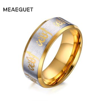 Meaeguet Vintage Allah Prayer Rings For Woman Man Jewelry Black/Gold-Color Arabic Islamic Muslim Religious Male Ring