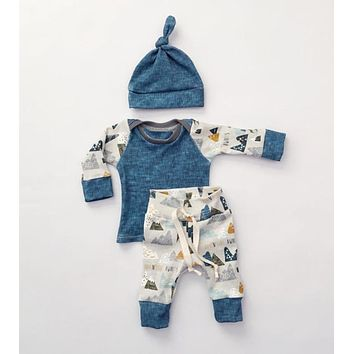 2016 Winter Autumn Newborn Baby Clothes Set Infant Cotton Boys Clothing Toddlers Hats+Rompers+Pants 3piece/Set Christmas Clothes