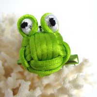 Frog ID Badge Clip Photo Prop Bag Charm Purse Charm Barette Hat Pin Lapel Pin Gift Bow Scarf Clip Tie Clip Brooch Chinese Knotting Cord Frog