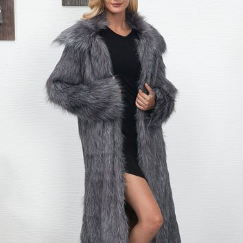 Dark Gray Lapel Longline Faux Fur Coat