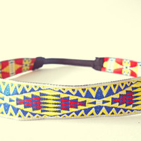 Hippie Headband Aztec Tribal Bohemian Headband Colorful Boho Headband Yellow and Blue Hair Accessories