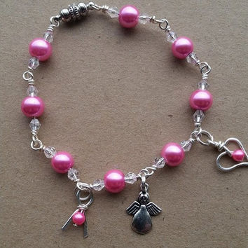 Cancer awareness charm bracelet