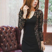 Temperament Slim Split Joint Lace Dress