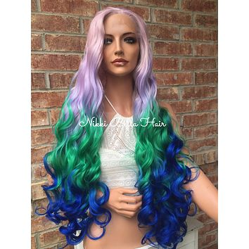 Custom Blue Green Purple Ombre' Wavy Hair SWISS Lace Front Wig 30 inches