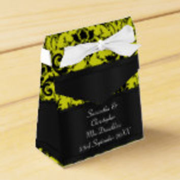 Black and yellow damask wedding party favor box
