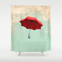 Red Umbrella Shower Curtain by Vin Zzep