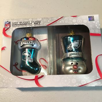 PHILADELPHIA EAGLES NFL SNOWMAN PLUS STOCKING CHRISTMAS ORNAMENTS SHIPPING