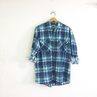 Vintage blue and green plaid flannel shirt / Tomboy Grunge Shirt / button up shirt / street wear