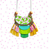 Cactus Statement Necklace, Geometric Mint Rope Necklace with Wood Beads | Boo and Boo Factory - Handmade Leather Jewelry