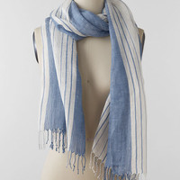 Women's Stripe Chambray Scarf from Lands' End