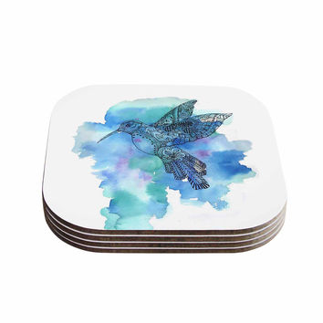"Sonal Nathwani ""Hummingbird"" Blue Watercolor Coasters (Set of 4)"