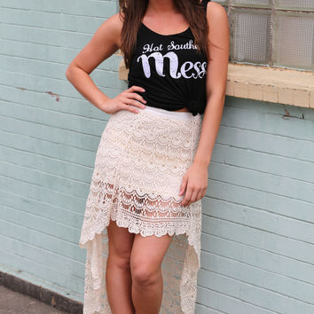 Cream Lace High-Low Skirt