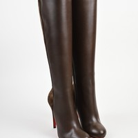 PEAP ?¨®¡é¨?¨ª¨®Christian Louboutin Brown Leather and Suede   Acheval 100   Heel Boots