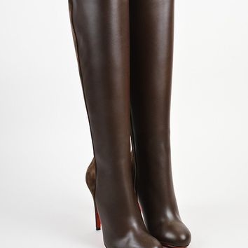 ESBU2C Brown Christian Louboutin Leather Acheval 100 Tall Boots