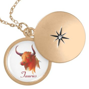 Zodiac Taurus Sign gold finish locket Necklace